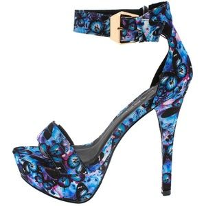 C Label Shoes - Dana Faux Silk Blue Butterfly Platform Heels
